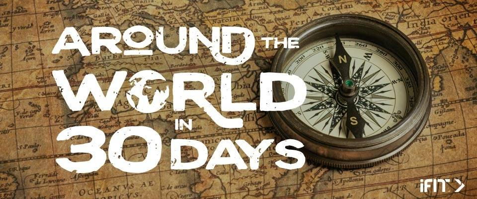 Around the World in 30 days with a map and compass in the background