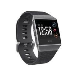 Black silver and gray fitbit ionic watch with 12:58 PM showing on it's LED screen